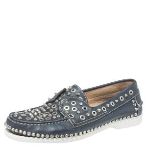Christian Louboutin Blue Leather Yacht Spikes Loafers Size 41