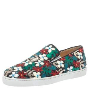 Christian Louboutin Multicolor Canvas And Patent Floral Applique Slip-on Sneakers Size 43