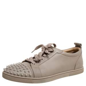 Christian Louboutin Beige Leather Louis Junior Spikes Low Top Sneakers Size 44