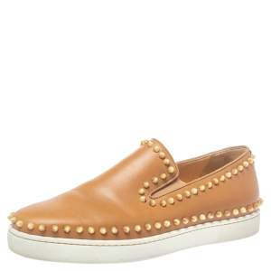 Christian Louboutin Brown Leather Spike Boat Slip On Sneaker Size 43