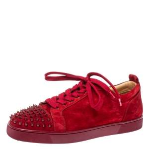 Christian Louboutin Red Suede Louis Junior Spikes Sneakers Size 45