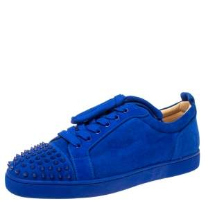 Christian Louboutin Cobalt Blue Suede Louis Junior Spikes Sneakers Size 46