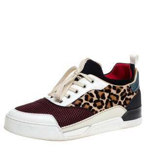 Christian Louboutin Multicolor Leather and Fabric Aurelien Low Top Sneakers Size 45.5