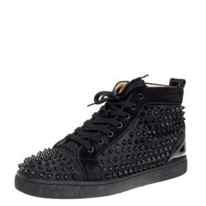 Christian Louboutin Black Suede And Patent Leather Louis Spikes High Top Sneakers Size 42