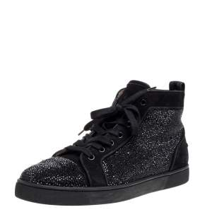 Christian Louboutin Black Strass Suede Leather Louis High Top Sneakers Size 42