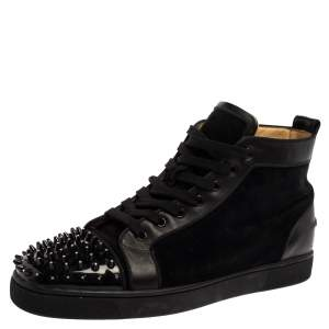 Christian Louboutin Black Suede And Patent Leather Louis Spikes Cap Toe High Top Sneakers Size 45