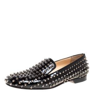 Christian Louboutin Black Patent Leather Rollerboy Spike Loafers Size 40