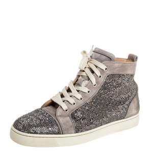 Christian Louboutin Grey Suede Strass High-Top Sneakers Size 42.5