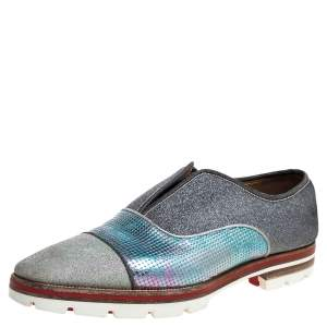 Christian Louboutin Multicolor Leather And Glitter Fabric Cap Toe Oxfords Size 42