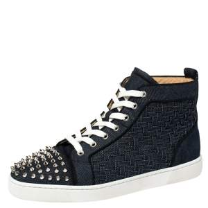 Christian Louboutin Denim Fabric Lou Degra Spiked High Top Sneakers Size 42.5