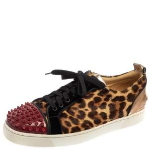 Christian Louboutin Multicolor Leopard Print Pony Hair And Patent Leather Louis Junior Spikes Sneakers Size 45