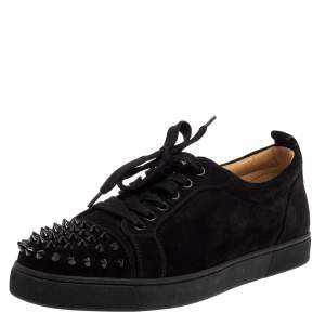 Christian Louboutin Black Suede Louis Junior Spikes Low Top Sneakers Size 40.5