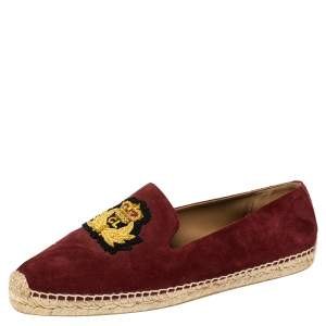 Christian Louboutin Burgundy Suede Captain Colonnaki Loafers Size 42