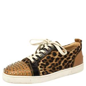 Christian Louboutin Brown Leather And Leopard Print Canvas Louis Junior Spikes Sneakers Size 45.5