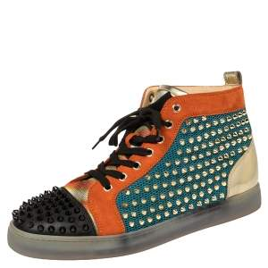 Christian Louboutin Multicolor Mesh And Suede Lou Spikes Orlato Sneakers Size 42.5