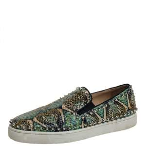Christian Louboutin Green Python Leather Stud Sneakers Size 42