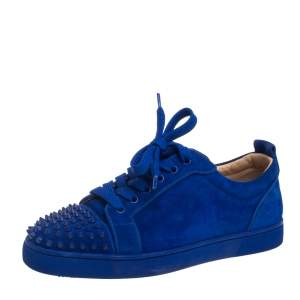 Christian Louboutin Blue Suede Louis Junior Spikes Orlato Sneakers Size 40