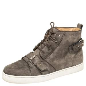 Christian Louboutin Grey Suede Nono Strap Reglisse High Top Sneakers Size 44