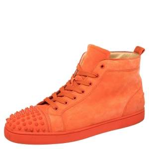 Christian Louboutin Orange Suede Lou Spikes High Top Sneakers Size 46