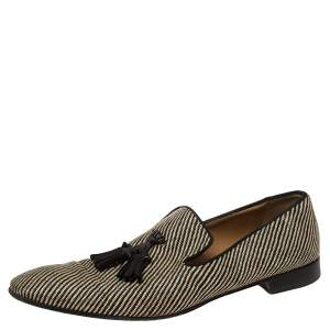 Christian Louboutin Two Tone Canvas Dandelion Tassel Loafers Size 44