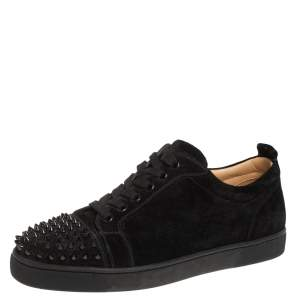 Christian Louboutin Black Suede Louis Junior Spikes Low Top Sneakers Size 43