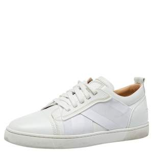 Christain Louboutin White Leather And Fabric Elastikid Sneakers Size 42