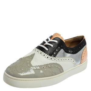 Christian Louboutin Multicolor Patent And Leather Golfito Wingtip Sneakers Size 42