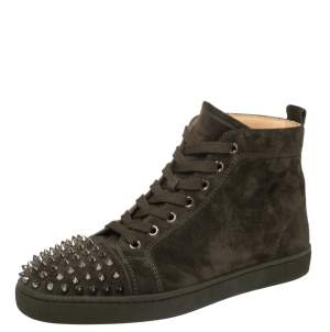 Christian Louboutin Olive Green Suede Lou Spikes High Top Sneakers Size 40.5