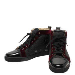 Christian Louboutin Black/Red Leather and Suede High top sneakers Size EU 44