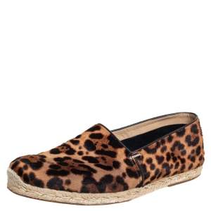Christian Louboutin Brown/Beige Leopard Print Calf Hair Slip On Espadrilles Size 43