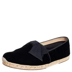 Christian Louboutin Black Velvet Bow Slip On Espadrilles Size 43