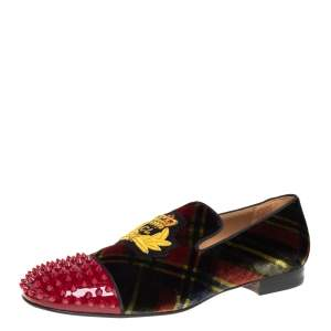 Christian Louboutin Multicolor Check Velvet And Patent Leather Harvanana Spike Smoking Slippers Size 44