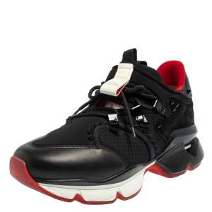 Christian Louboutin Black Leather And Neoprene Red Runner Low Top Sneakers Size 42.5