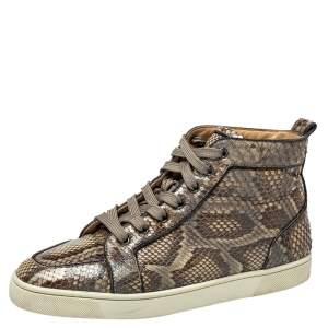 Christian Louboutin Grey Python Orlato High Top Sneakers Size 42.5