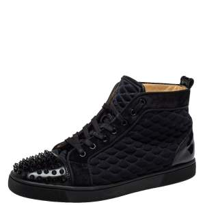 Christian Louboutin Black Suede And Fabric Spike Embellished High Top Sneakers Size 42.5