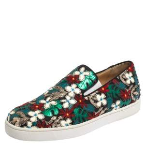 Christian Louboutin Multicolor Canvas And Patent Floral Applique Slip-on Sneakers Size 42.5