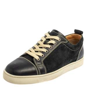 Christian Louboutin Blue Suede And Leather Louis Junior Sneakers Size 42