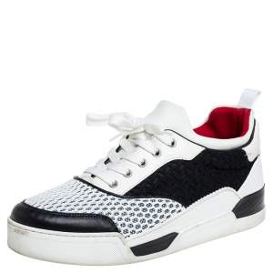 Christian Louboutin White/Black Fabric And Mesh Low Top Sneaker Size 42.5