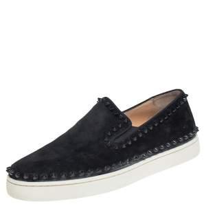 Christian Louboutin Black Suede Spike Pik Boat Slip On Sneakers Size 42