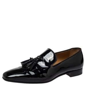 حذاء لوفرز كريستيان لوبوتان سليب أون شراشيب داندليون جلد لامع أسود مقاس 42.5
