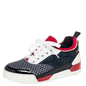 Christian Louboutin Multicolor Leather And Fabric Aurelian Low Top Sneakers 40.5