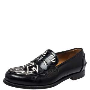 Christian Louboutin Black/White Patent Leather Slip On Loafers Size 41
