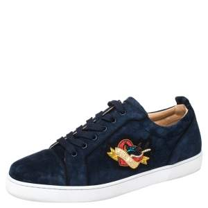 Christian Louboutin Blue Suede Louis Love Sneakers Size 44.5
