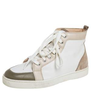 Christian Louboutin Tricolor Suede And Leather Rantus Orlato High Top Sneakers Size 42