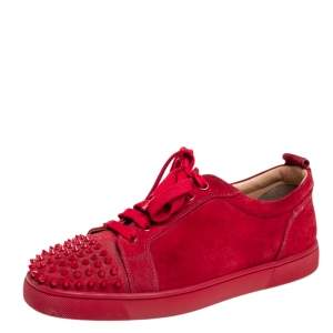 Christian Louboutin Red Suede Louis Junior Spikes Low Top Sneakers Size 41.5
