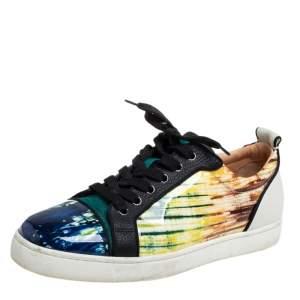 Christian Louboutin Multicolor Patent Leather Version Azzurro Louis Junior Orlato Low Top Sneakers Size 42