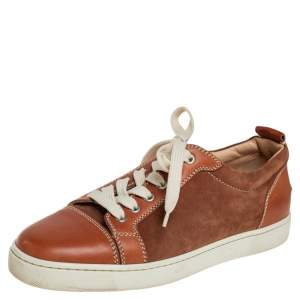 Christian Louboutin Brown Suede and Leather Lace Up Sneakers Size 41.5