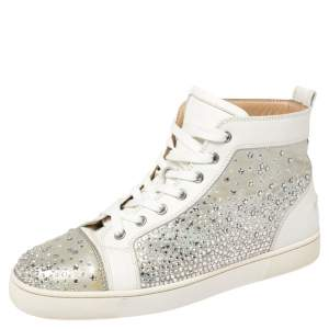 Christian Louboutin Silver/White Leather Rantus Crystal Embellished High Top Sneakers Size 41