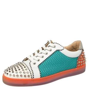 Christian Louboutin Multicolor Patent, Mesh And Suede Spike Seavaste Sneakers Size 42.5