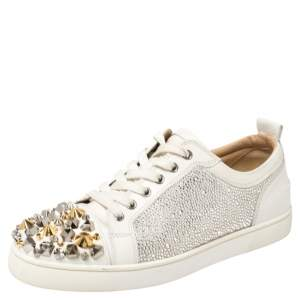 Christian Louboutin White Leather Louis Junior Mix Spikes And Crystal Embellished Sneakers Size 41.5